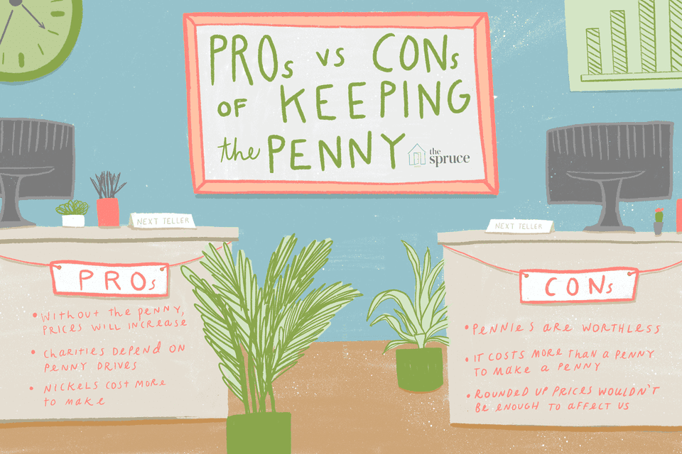 an illustration describing the pros and cons of the penny
