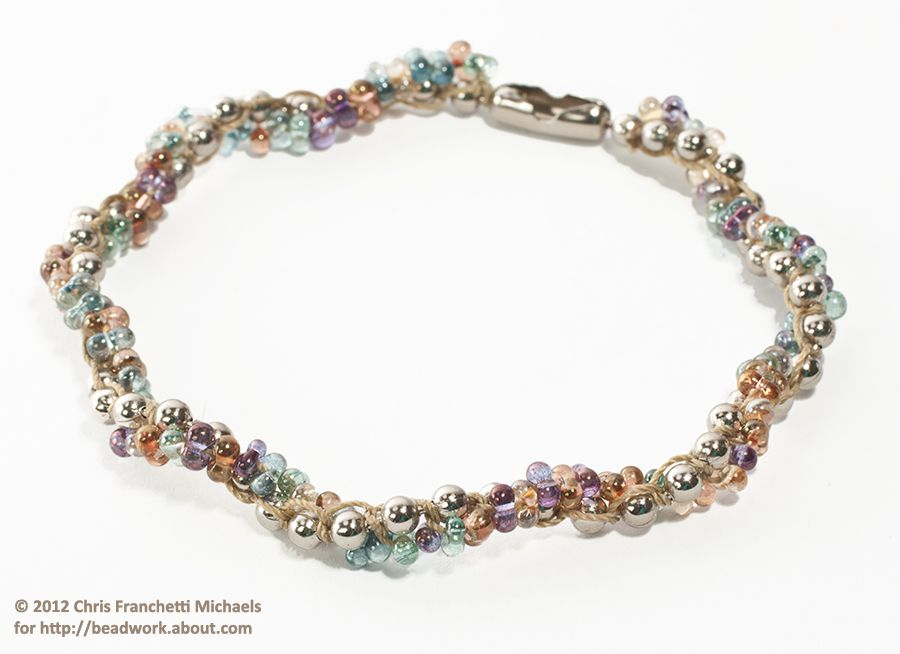 A completed spiral rope macramé bracelet
