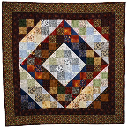 Split nine patch quilt