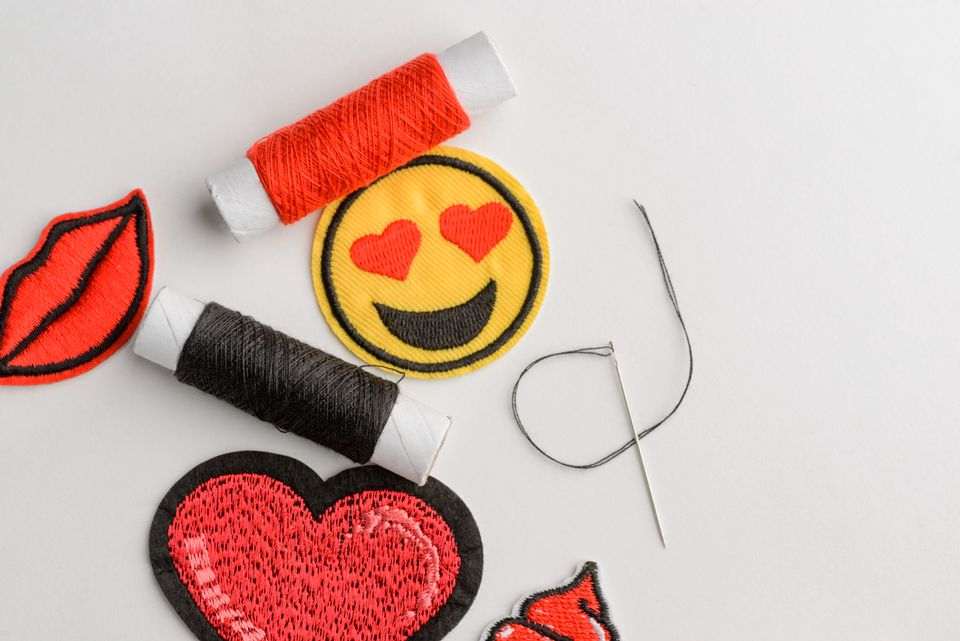 Set of romatic embroidered patches, threads and needle