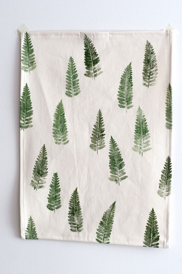 Stamped Tea Towel With Fern Print