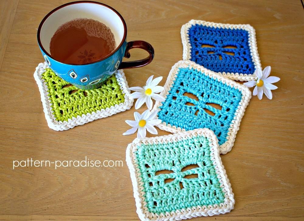 Dragonfly Coaster Free Crochet Pattern