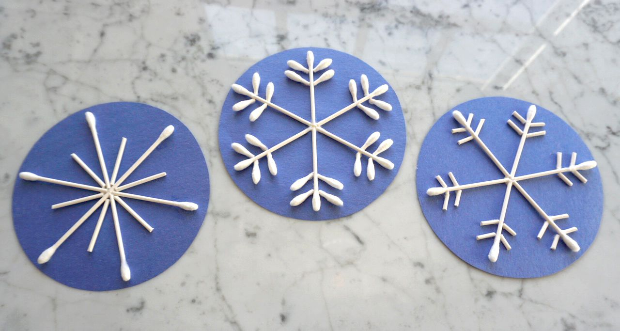 Cotton Swab Snowflakes