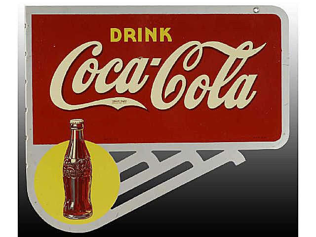 Ca. 1940 Coca-Cola Tin Flange Sign with Supports