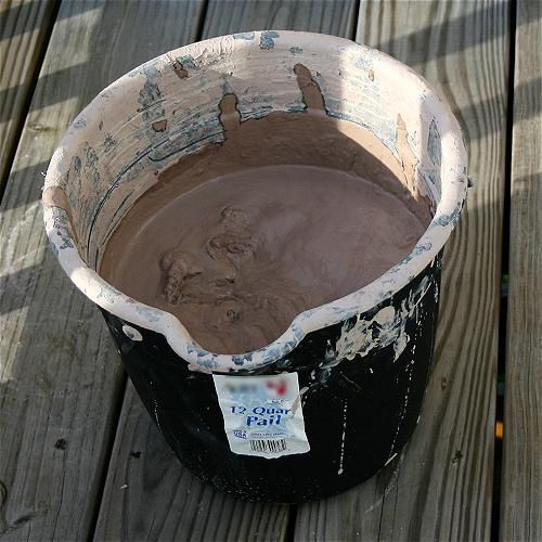 Clay made into a heavy slurry, which is the consistency of thick pudding.