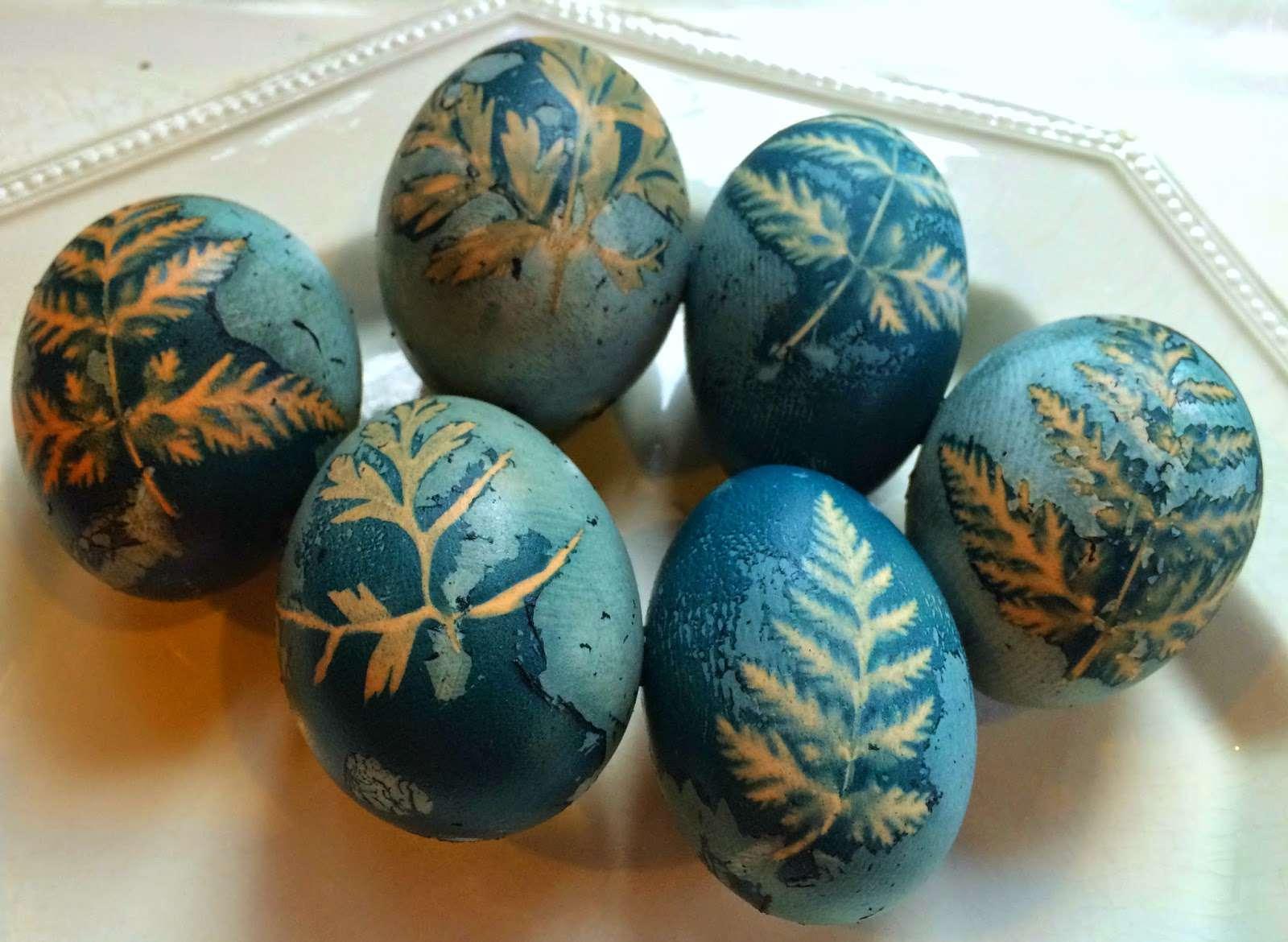 Leaf Printed Easter Eggs