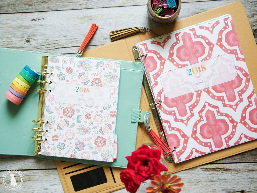 Covers of free printable planners for 2018 in floral and trellis