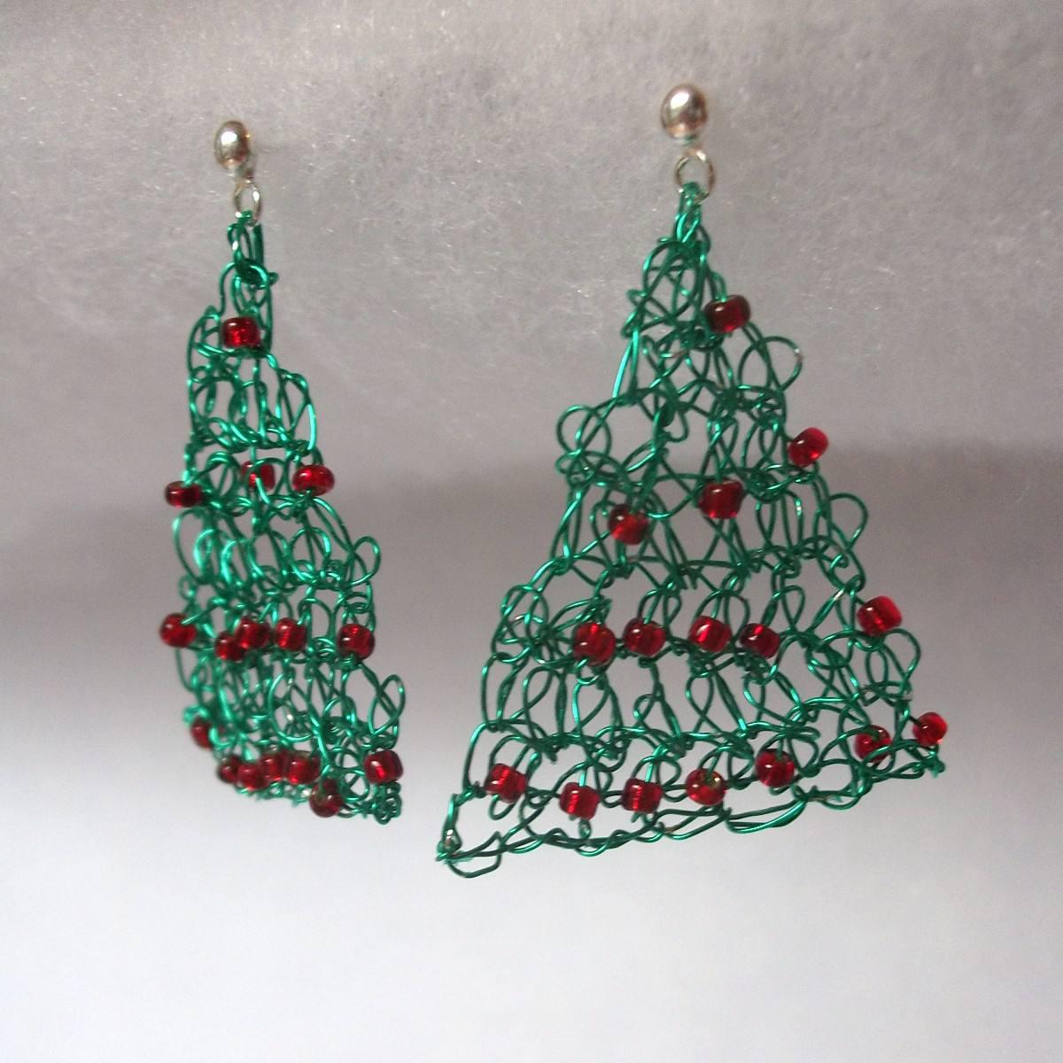 Christmas Tree Wire Crochet Earrings
