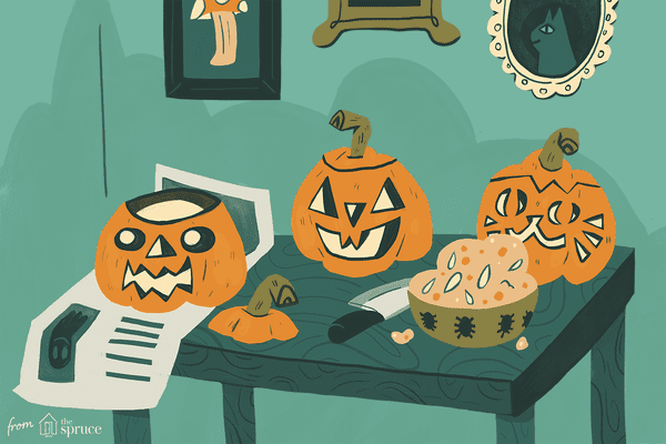 An illustration of jack-o-lanterns being carved on a table
