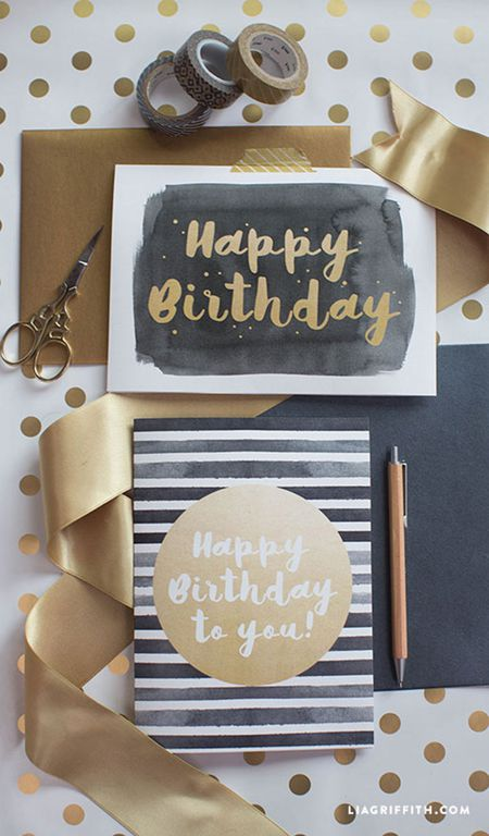 Black And Gold Birthday Card