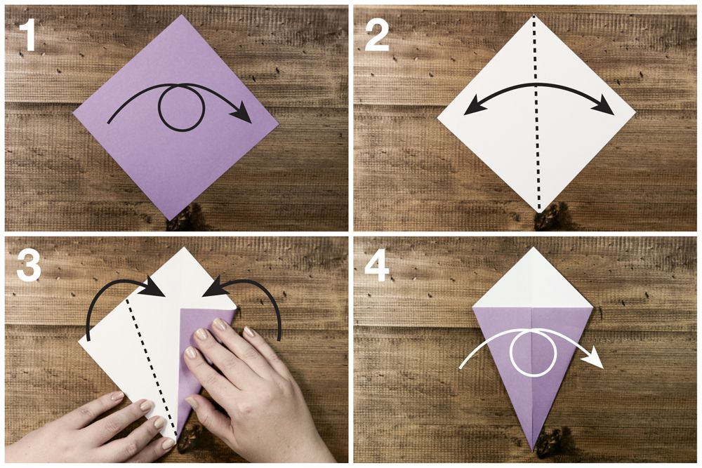 Four steps to origami swan folding, including folding over the paper and creating a kite shape.