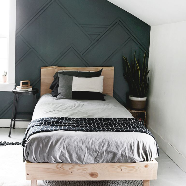 A live edge platform bed in a room