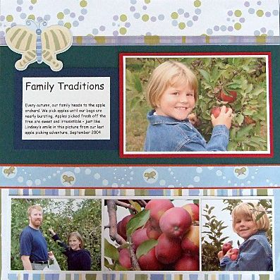 A completed scrapbook page with photos, text, and embellishments