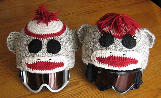 Ski Helmet Sock Monkey Crochet Pattern