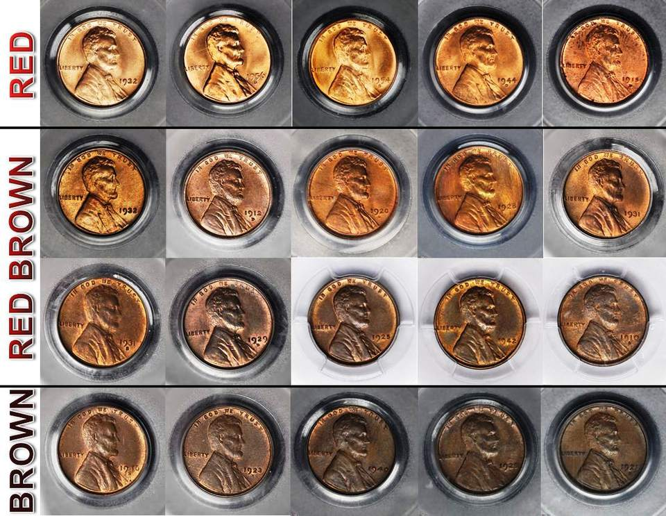 Twenty Copper Lincoln pennies arranged by darkening shades of red to brown.