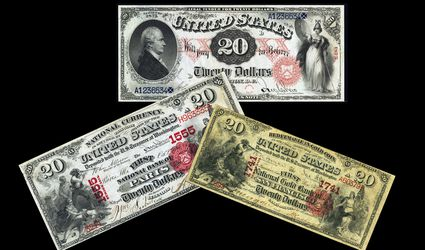 Several examples of banknotes produced in 1875