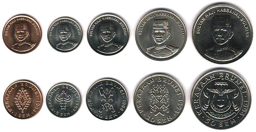 These coins are currently circulating in Brunei as money.