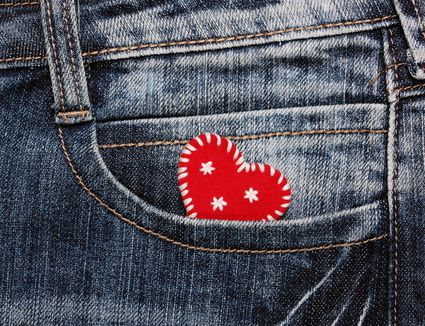 heart with embroidered in jeans pocket