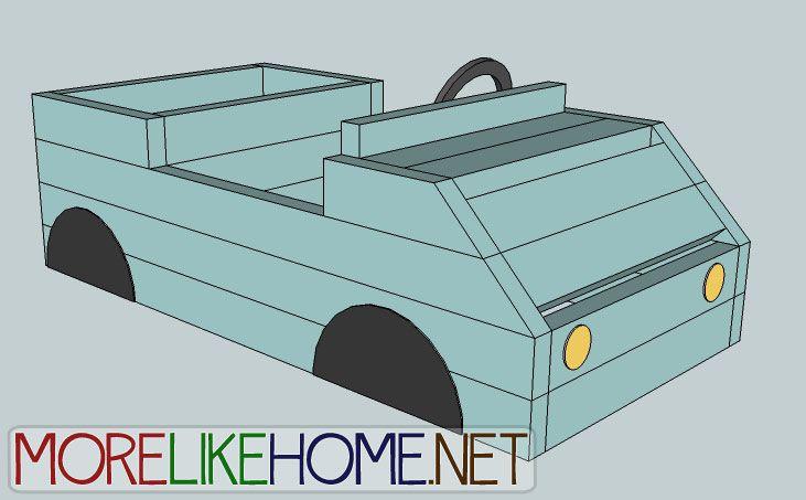 A blue toy box shaped like a car
