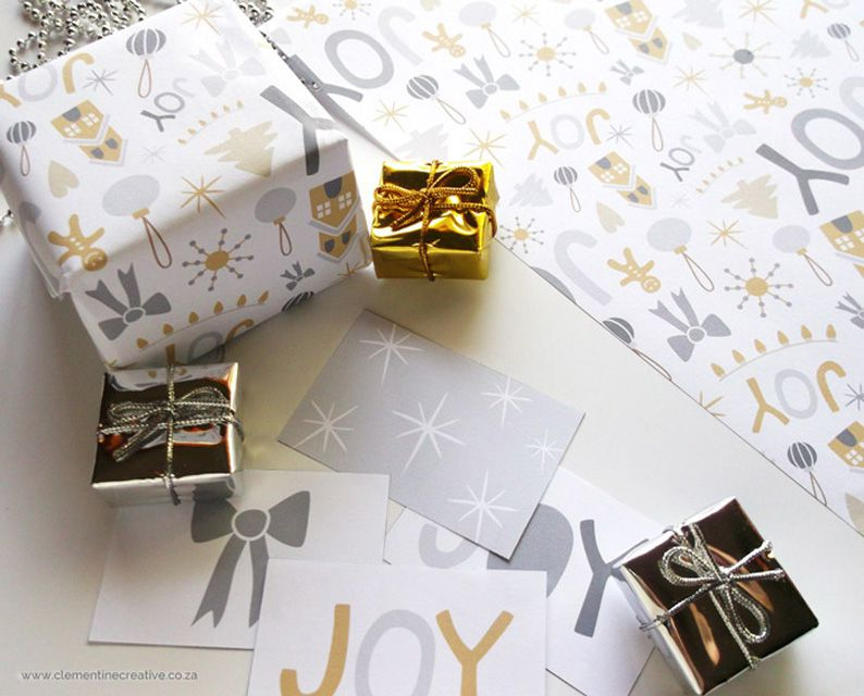 Printable wrapping paper and tags