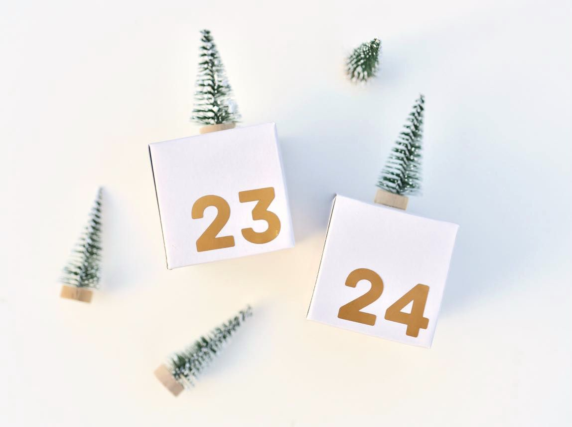 Small bottle brush trees glued to white numbered boxes.