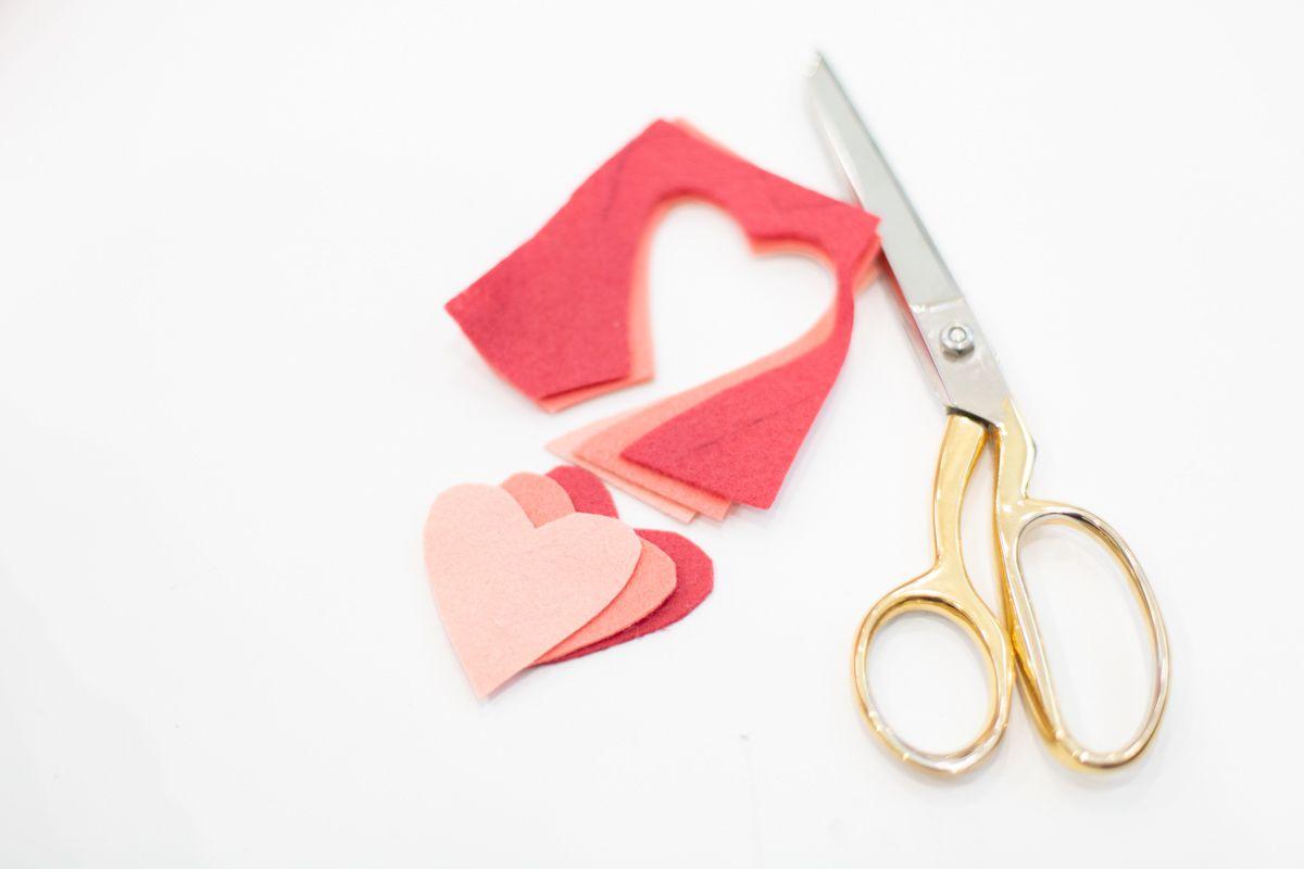 Cut felt hearts