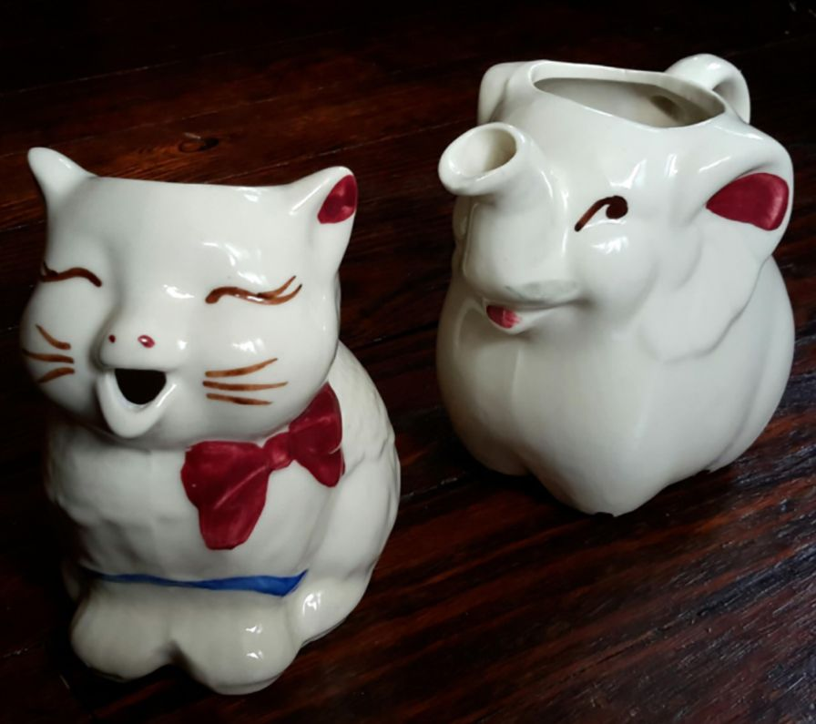 Puss 'n Boots and Elephant Cream Pitchers by Shawnee Pottery