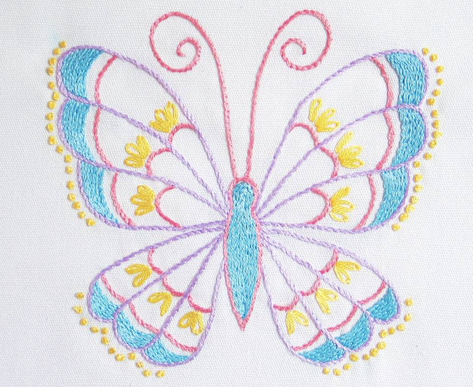 """Stem Stitch Butterfly"" Free Stitchery Pattern for Quilting designed by Cheryl Fall from The Spruce Crafts"
