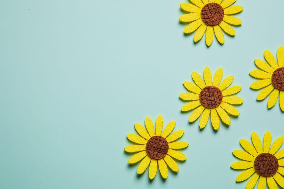 flat lay sunflower decorations