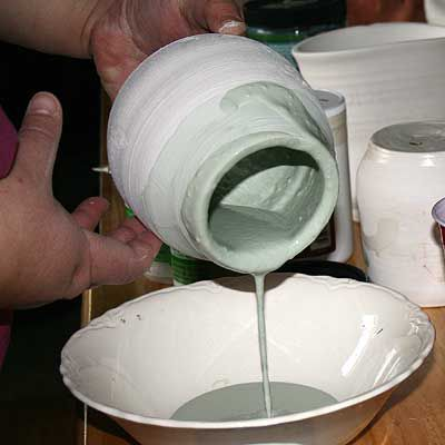 Pouring glazes into and out of pots