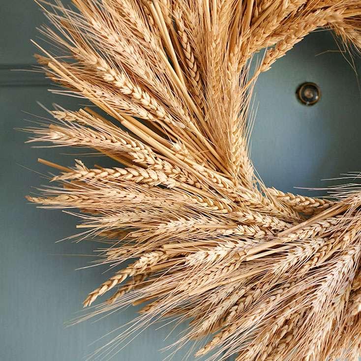 a wreath made of wheay