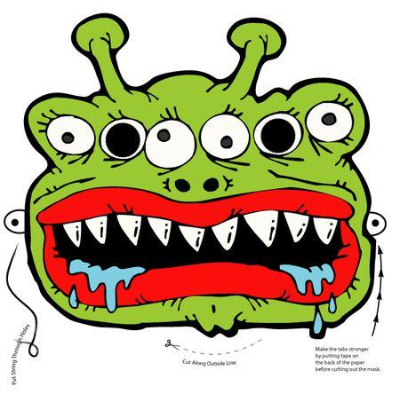 a 6 eyed green monster mask