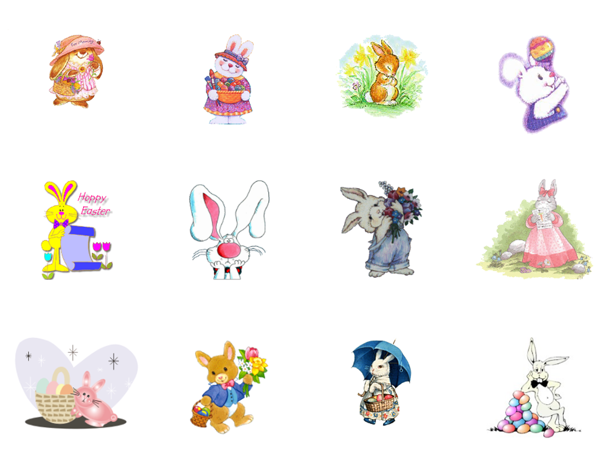 Several clip art images of Easter bunnies