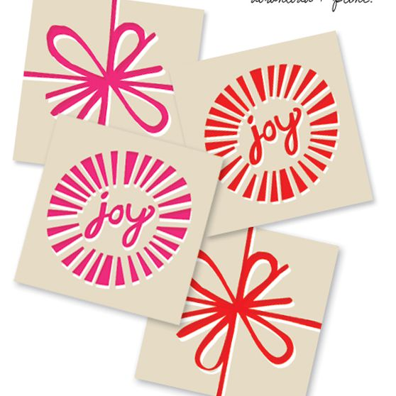 Red and pink holiday gift tags.