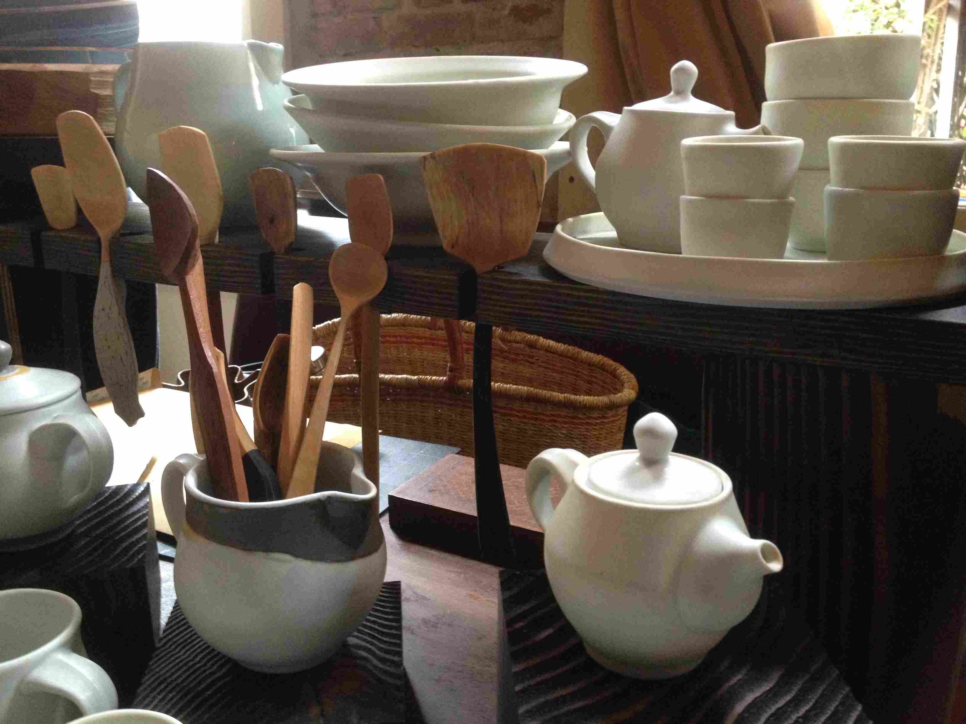 Hand carved wooden tools and handmade porcelain pottery are made in America by skilled crafters