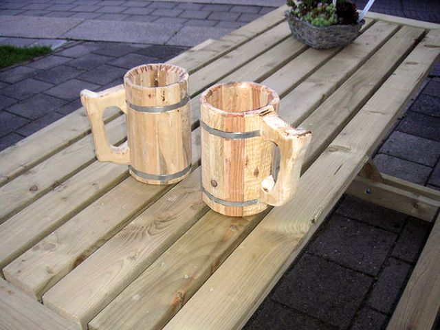 DIY wooden beer stein