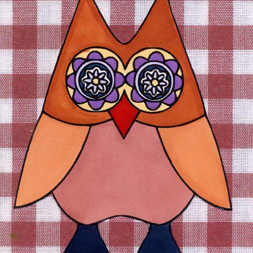 Retro Owl Digital Stamp