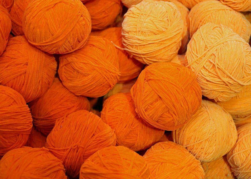 orange wool balls