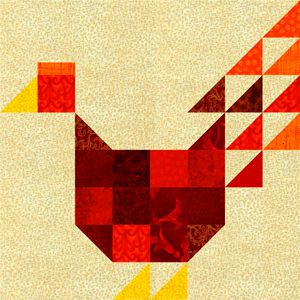Patchwork chicken quilt block