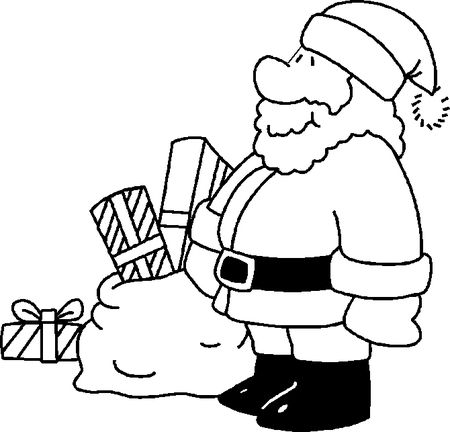 PapaJans Christmas Coloring Pages For Kids Santa With A Bag Of Gifts