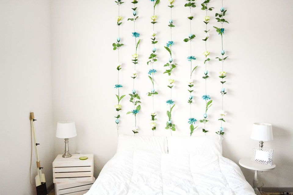 Flower wall hanging in bedroom