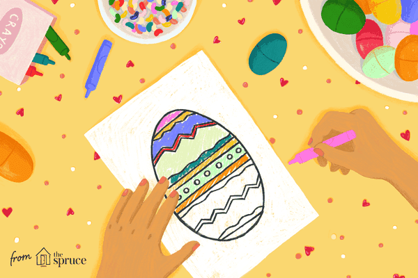 Illustration of kid's hands coloring an Easter egg drawing