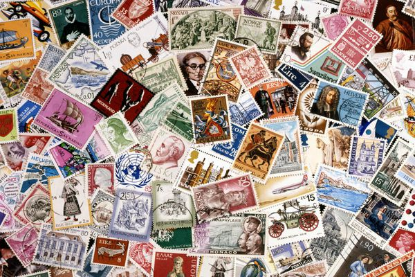 Postage stamps, full frame