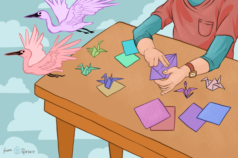 Illustration of origami cranes