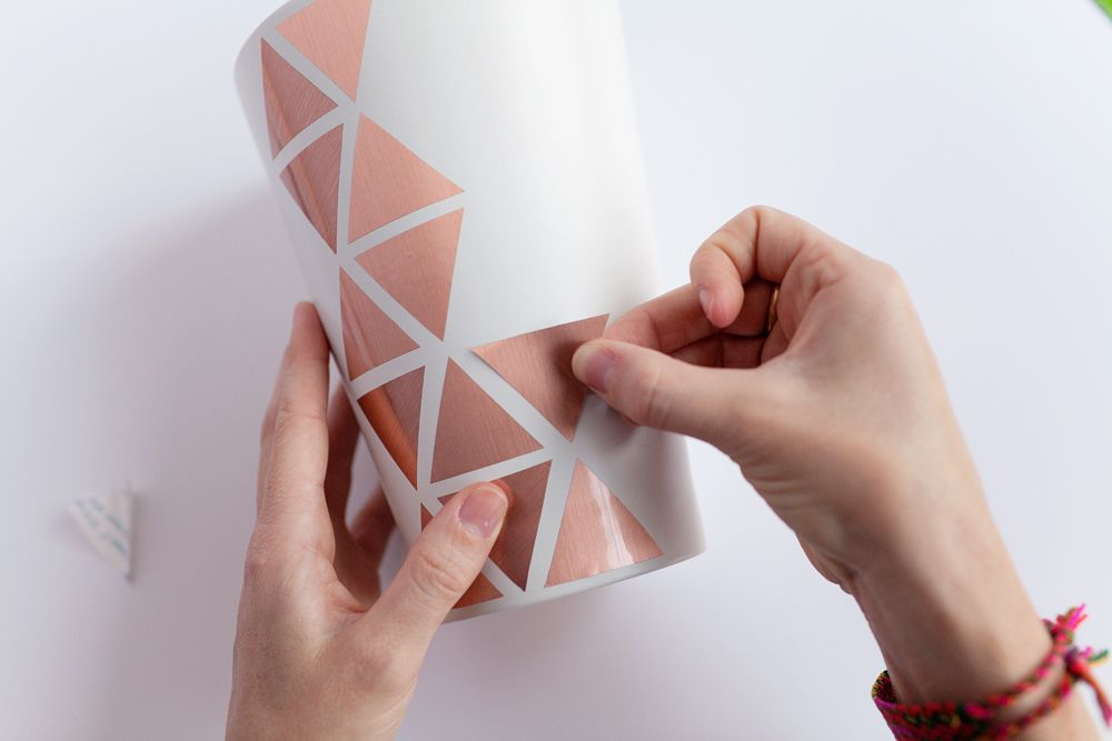 vase with copper contact paper triangles