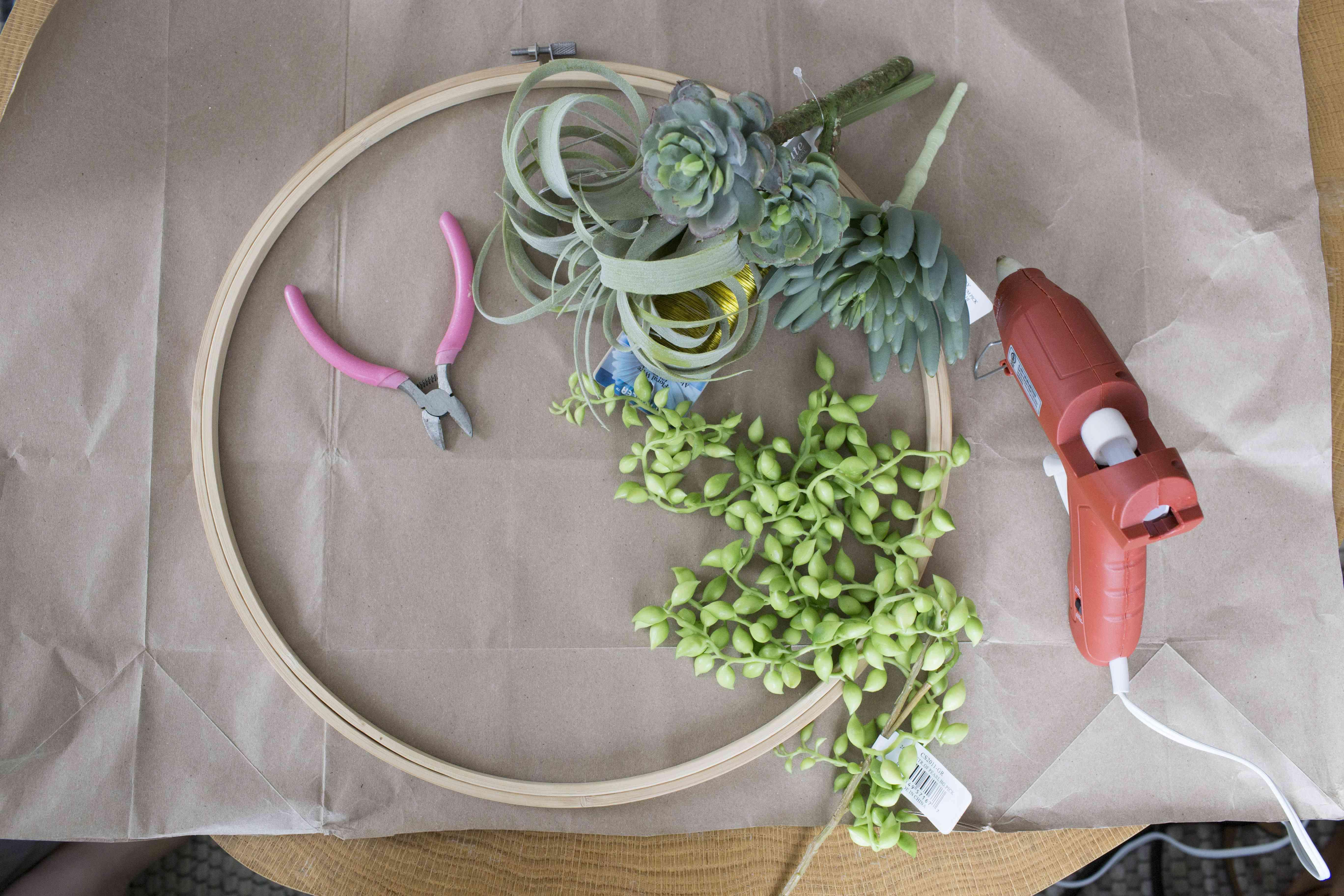 Supplies for a faux succulent wreath