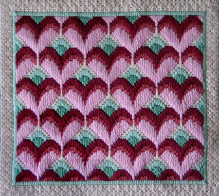 Long Stitch Hearts Needlepoint Design Bonus Chart