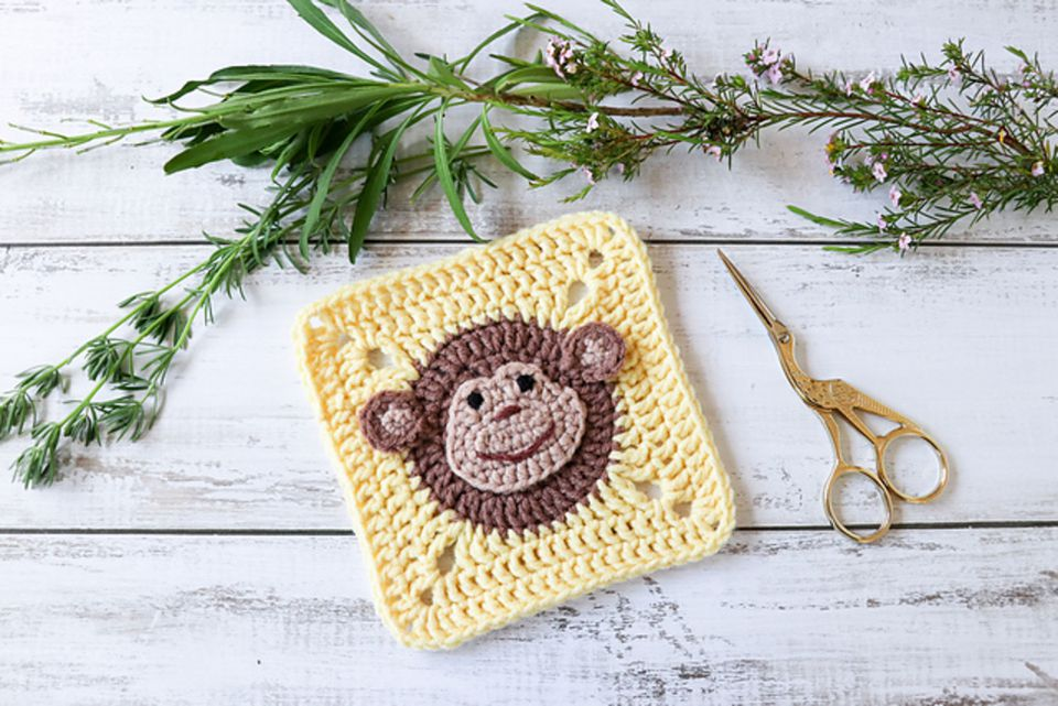 Crochet Monkey Granny Square Pattern