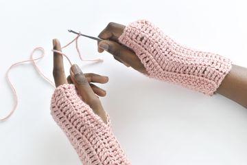 Easy Treble Crochet Fingerless Gloves