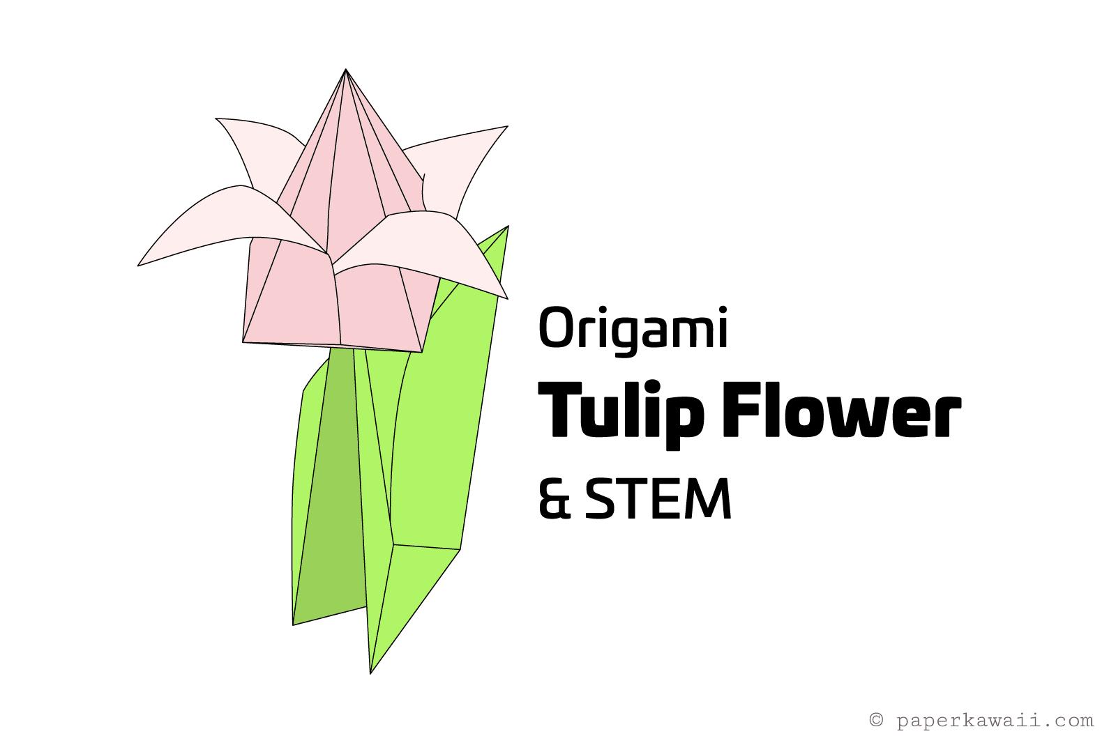 Origami tulip and stem illustration